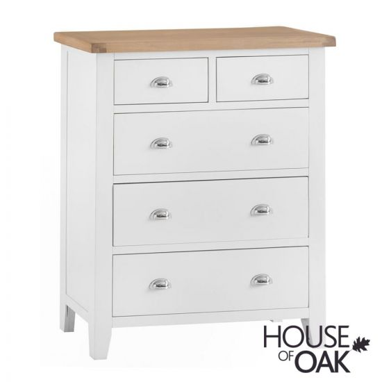 Florence Oak Jumbo 2 Over 3 Chest - White Painted