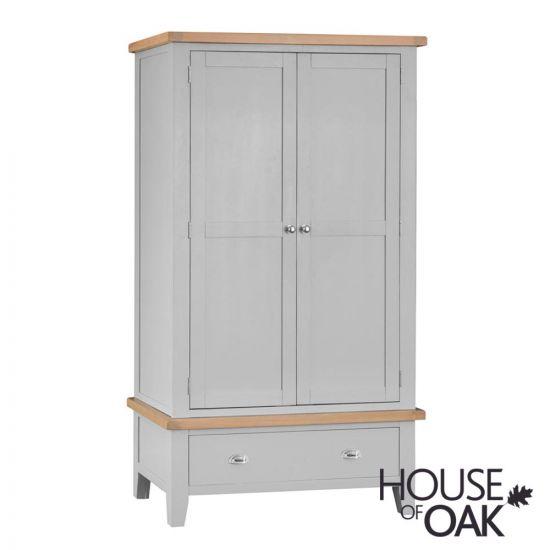 Florence Oak Large 2 Door 1 Drawer Wardrobe - Grey Painted