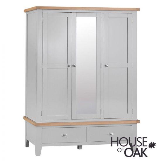 Florence Oak Large 3 Door Wardrobe With Mirror - Grey Painted