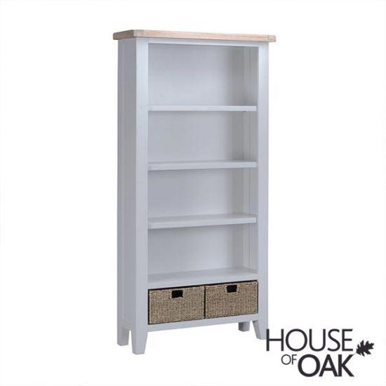 Florence Oak Large Bookcase - Grey Painted
