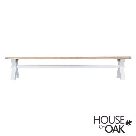 Florence Oak Large Cross Bench - White Painted