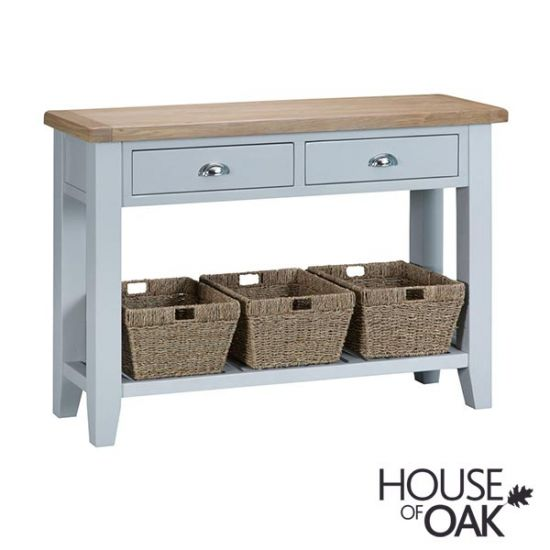Florence Oak Large Console Table - Grey Painted