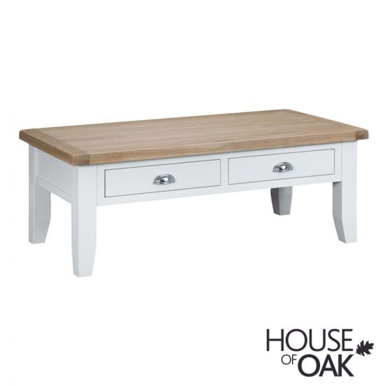 Florence Oak Large Coffee Table - White Painted