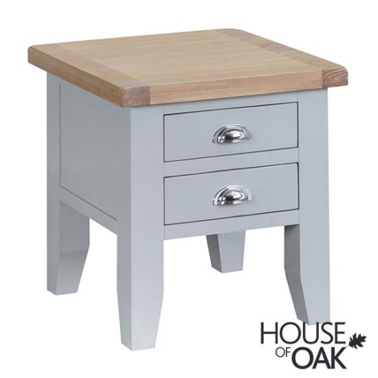 Florence Oak Lamp Table - Grey Painted