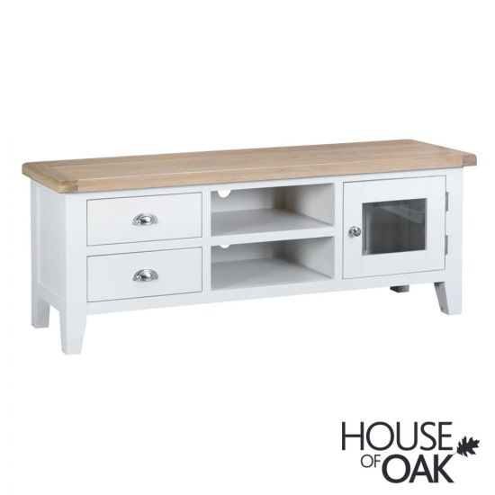 Florence Oak Large TV Unit - White Painted