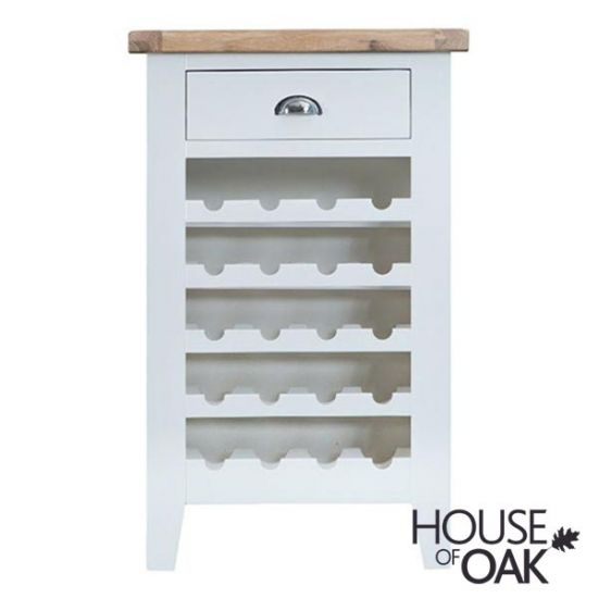 Florence Oak Wine Cabinet - White Painted