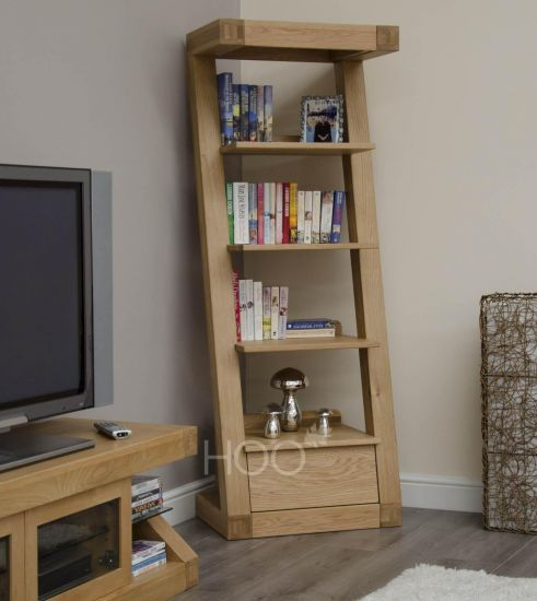 Z Oak 1 Drawer Narrow Bookcase