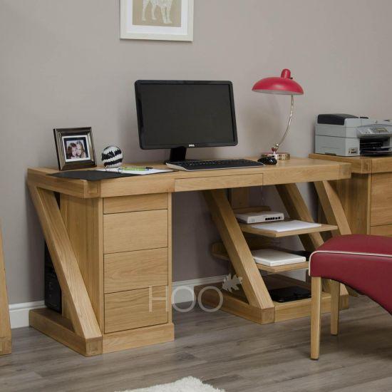 Z Oak Large Computer Desk