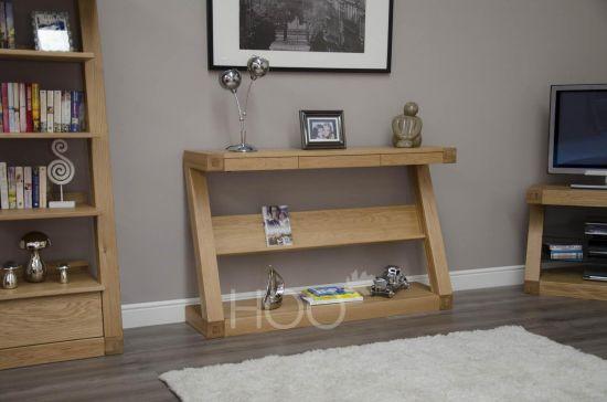 Z Oak Wide Console with Shelf