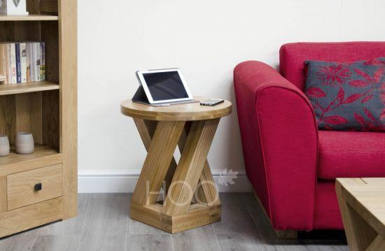 Z Oak Round Four Leg Lamp Table