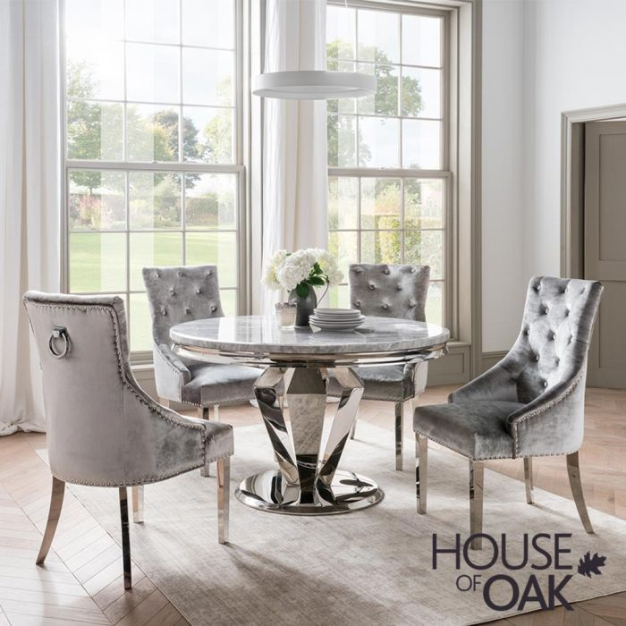 Arturo Grey 130cm Round Dining Table, Round Dining Room Table Sets