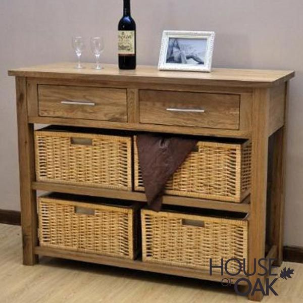 Opus Solid Oak Basket Hall Table, Oak Console Table With Storage Baskets