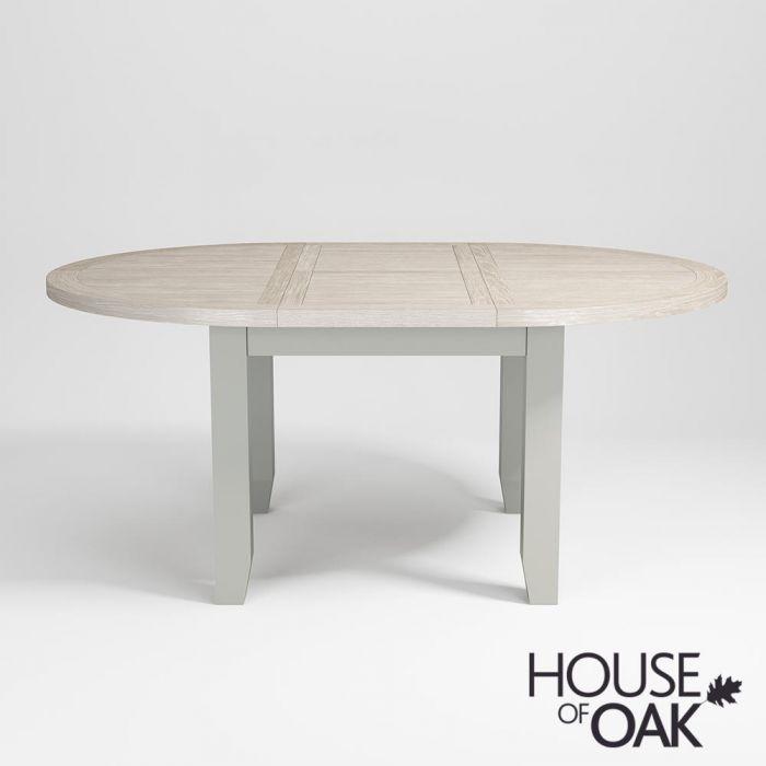 Ella Chalked Oak Misty Grey 110cm, Round Extending Dining Tables