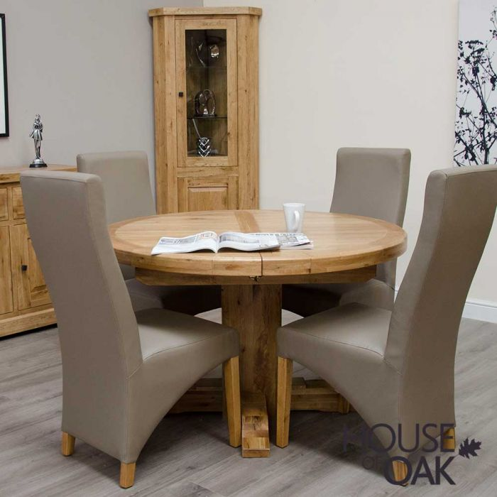 Deluxe Oak Round Extending Table, Round Extendable Dining Table And Chairs Uk