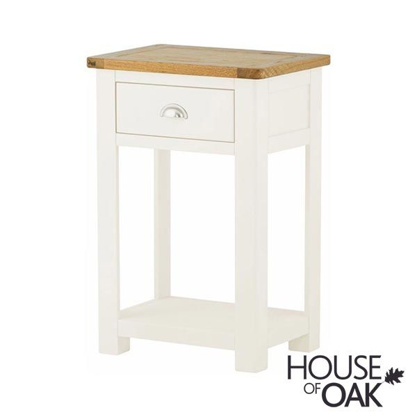 Portman Painted 1 Drawer Console Table In White By House Of Oak - Small Console Table With Drawers