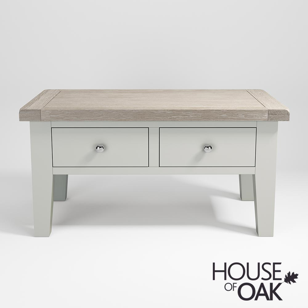 Ella Chalked Oak & Misty Grey Coffee Table With Drawers