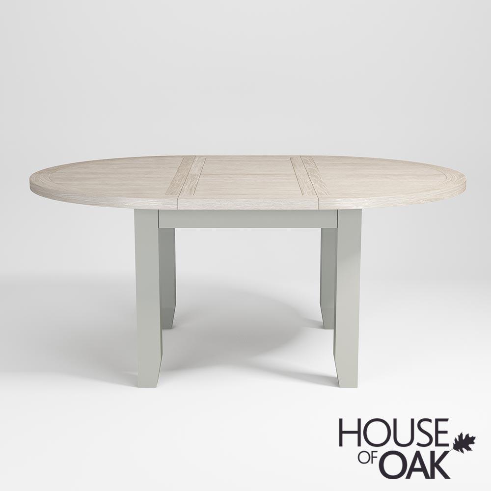 Ella Chalked Oak Misty Grey 110cm Round Extending Dining Table House Of Oak