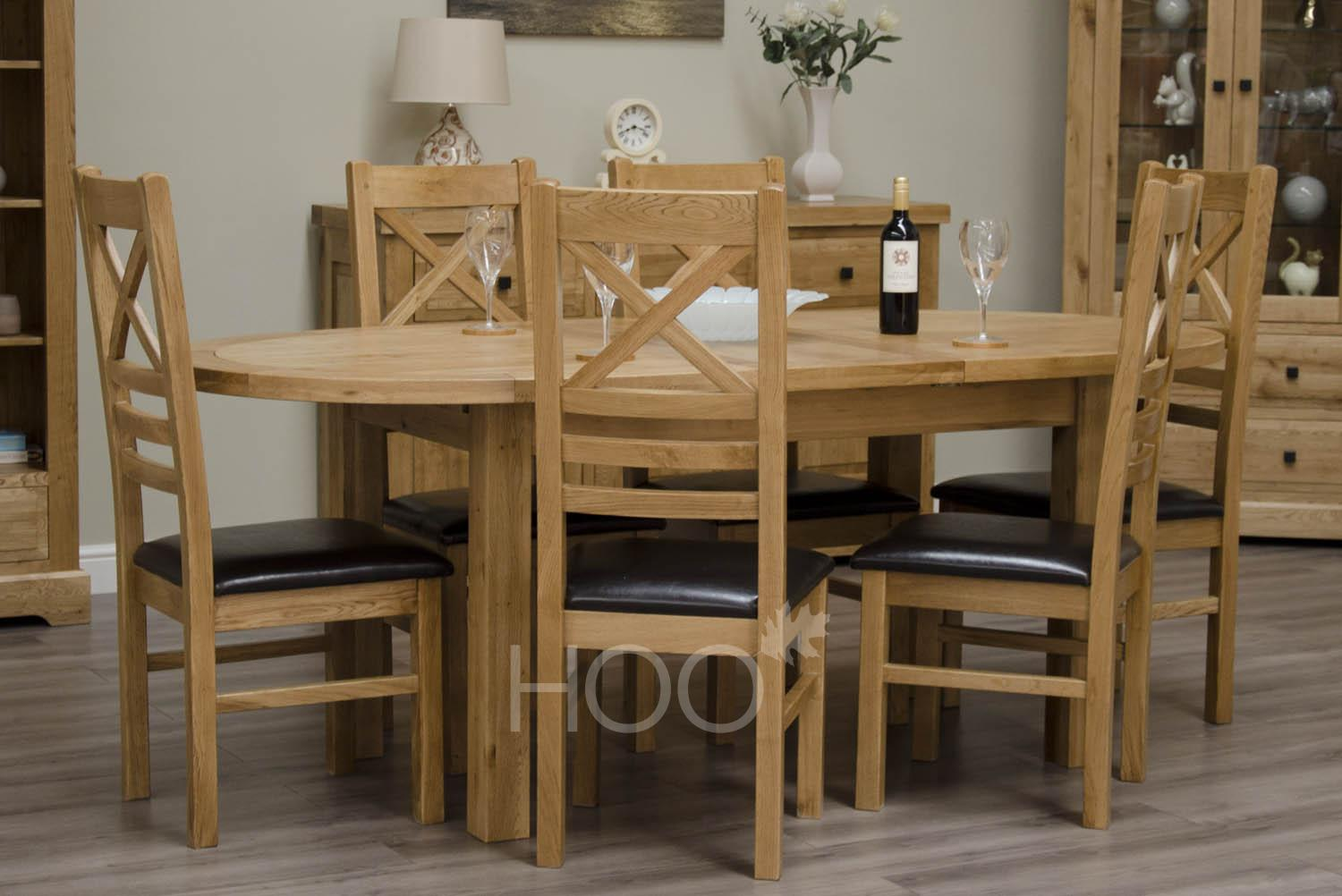 Deluxe Oak Oval Extending Dining Table