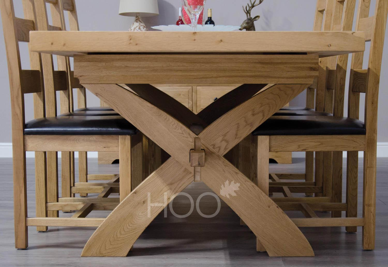 Deluxe Oak X-Leg Extending Dining Table