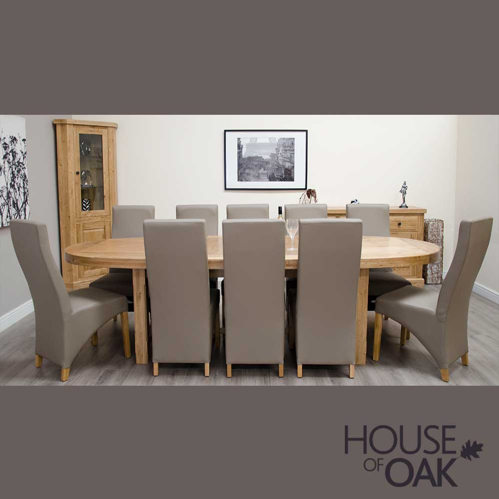 Deluxe Oak Super Oval Extending Table