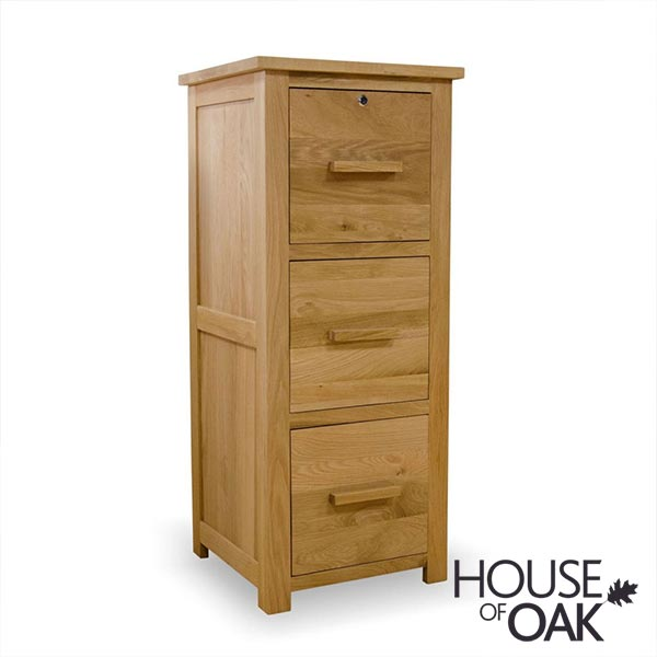 Opus Solid Oak 3 Drawer Filing Cabinet