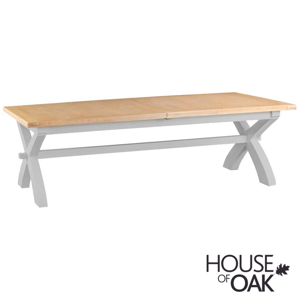 Florence Oak Large Cross Leg Bench - Grey Painted