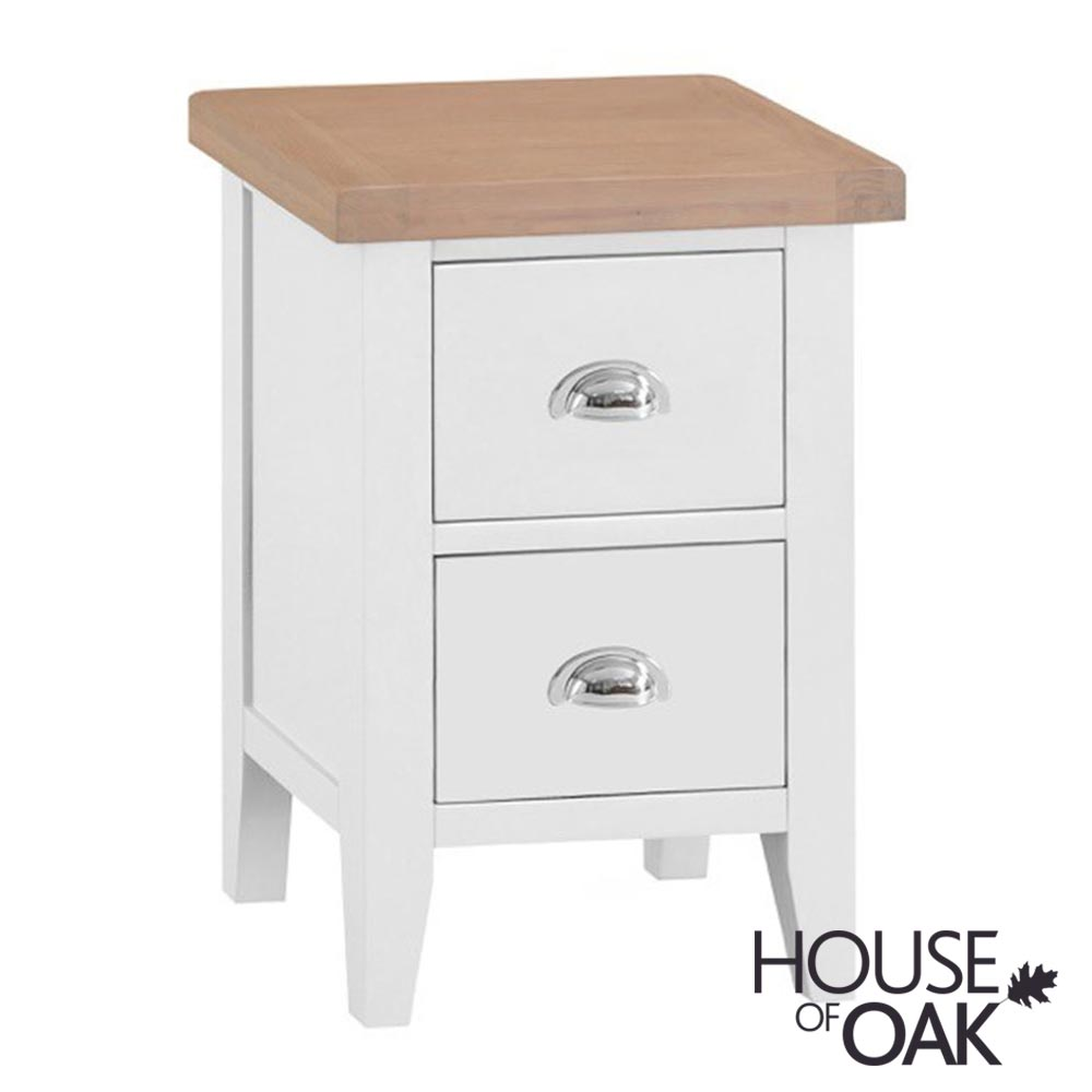 Florence Oak Small Bedside Cabinet - White Painted