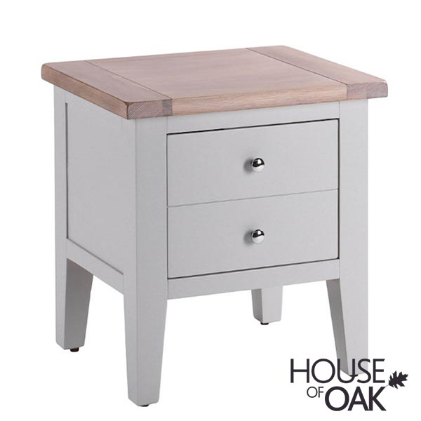 New Hampshire Chalked Oak & Light Grey Lamp Table (1 Drawer)