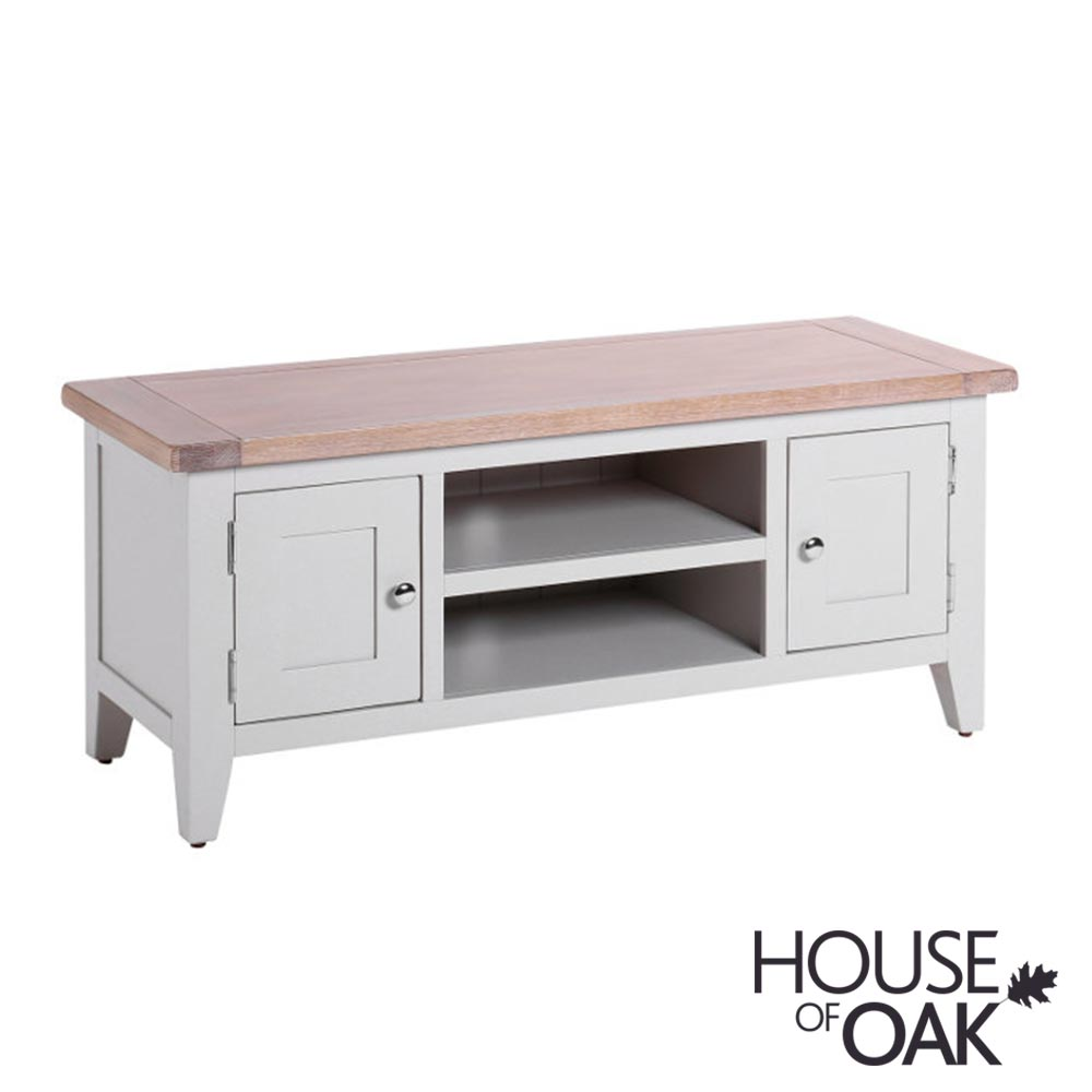 New Hampshire Chalked Oak & Light Grey 2 Door TV Unit