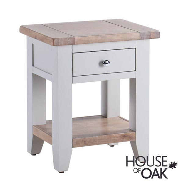 New Hampshire Chalked Oak & Light Grey 1 Drawer Lamp (Bedside) Table