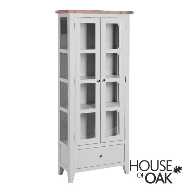 New Hampshire Chalked Oak & Light Grey Glazed Display Cabinet