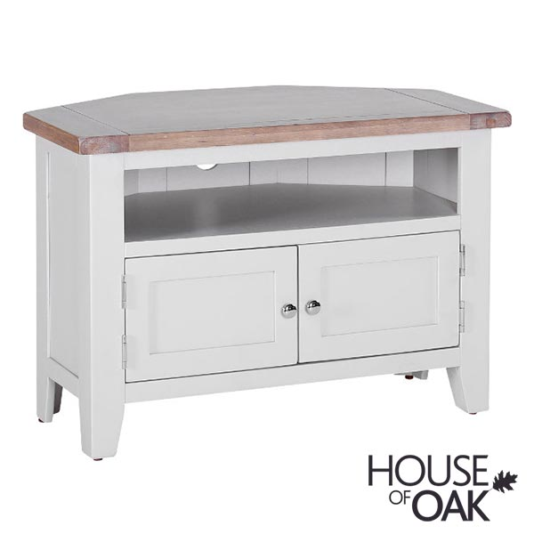 New Hampshire Chalked Oak & Light Grey Corner TV Unit