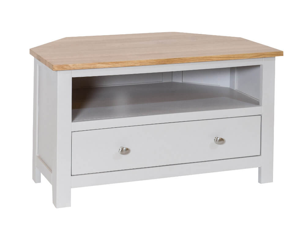 Simply Oak in Grey Corner 1 Drawer TV Cabinet