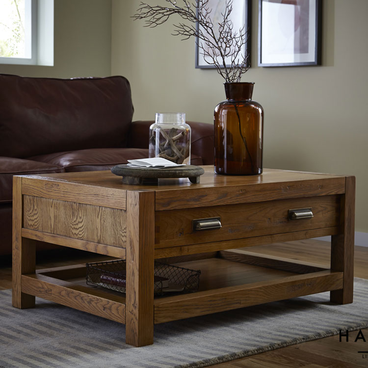 Montana 1 Drawer Coffee Table in Nibbed Oak