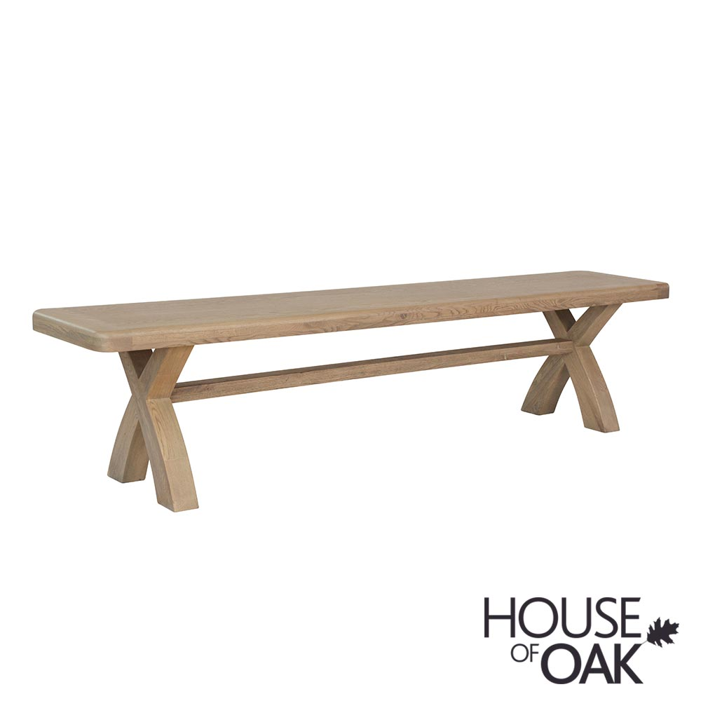 Chatsworth Oak 2 Metre Cross Leg Bench