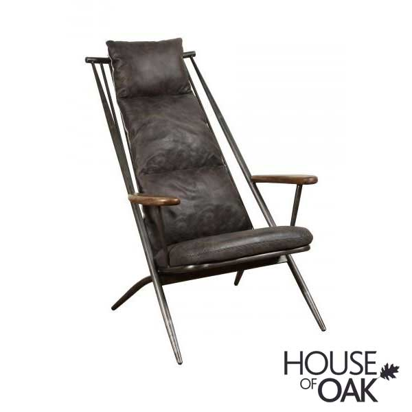 Huntingdon Studio Chair in Grey Leather