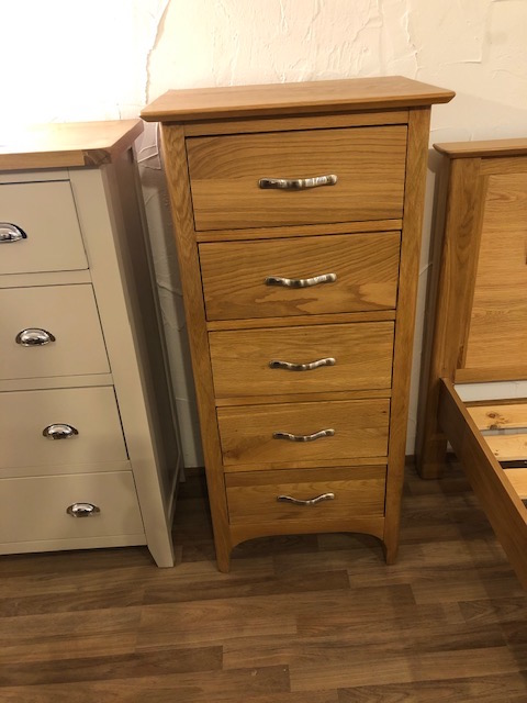 Provence Oak 5 Drawer Narrow Chest
