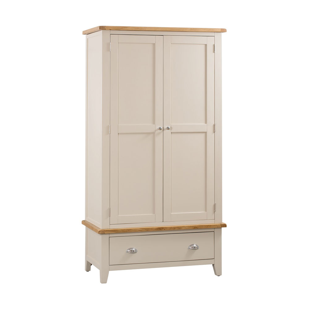 Chester Grey Painted 2 Door 1 Drawer Wardrobe