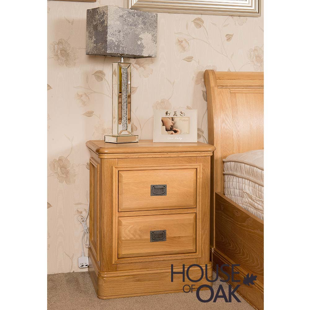 Lyon Oak 2 Drawer Bedside