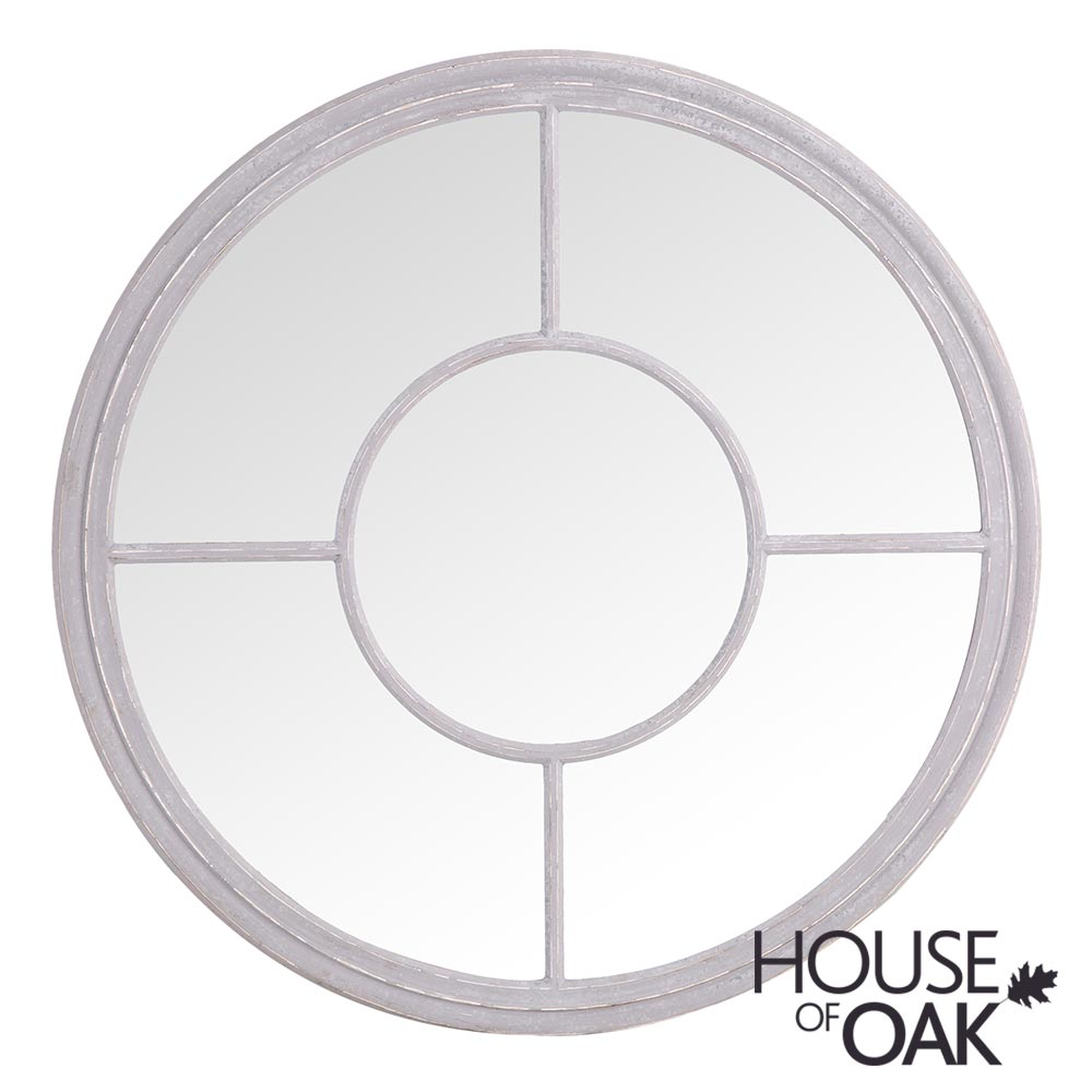 Neptune Large Round Window Mirror in Grey