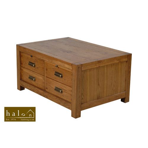 Montana 8 Drawer Coffee Table in Nibbed Oak