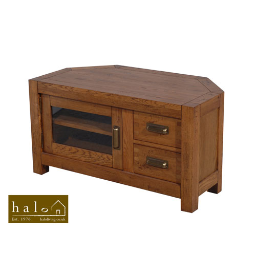 Montana Compact Corner TV Unit in Nibbed Oak