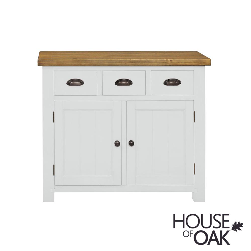 Cotswold Rustic Pine 3 Drawer 2 Door Sideboard in White Painted