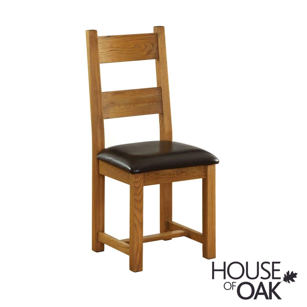 New Hampshire Oak with Leather Seat Dining Chair