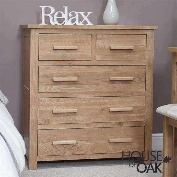 Opus Solid Oak 3+2 Chest of Drawers