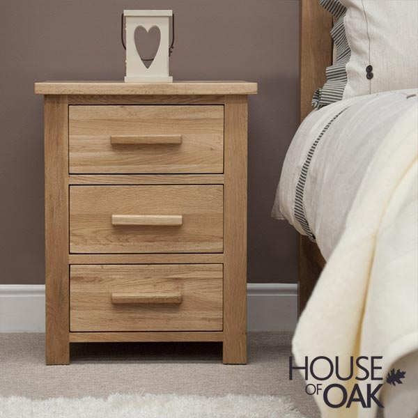 Opus Solid Oak 3 Drawer Bedside Cabinet