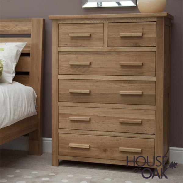 Opus Solid Oak 4+2 Chest of Drawers