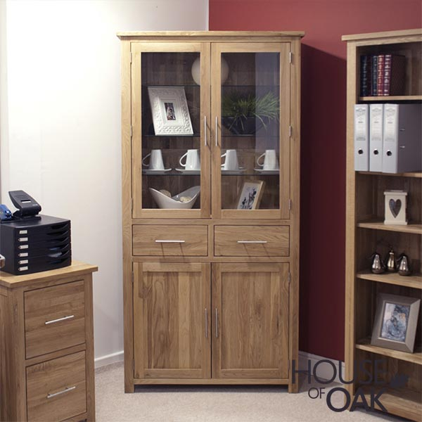 Opus Solid Oak 4 Door Library Unit