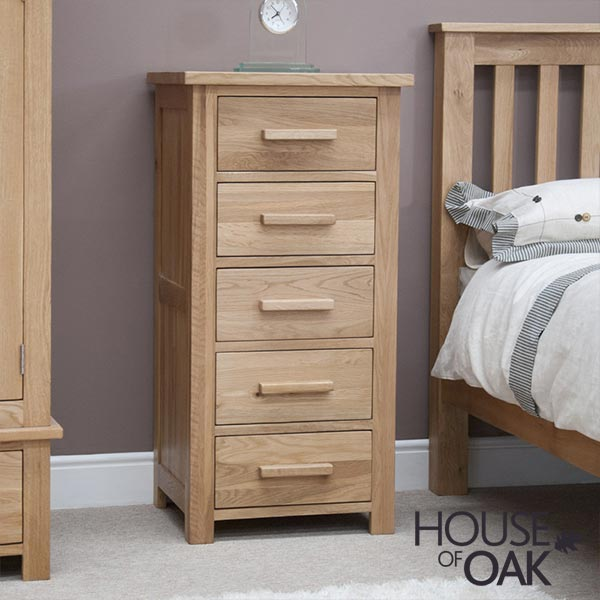 Opus Solid Oak 5 Drawer Narrow Chest