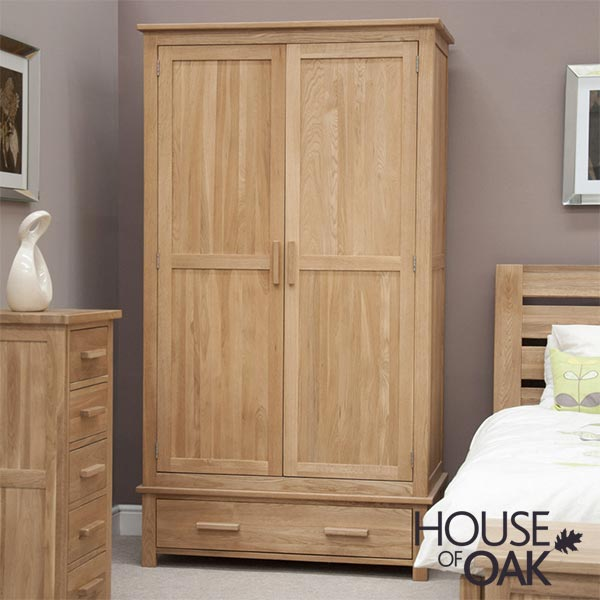 Opus Solid Oak 1 Drawer Wardrobe